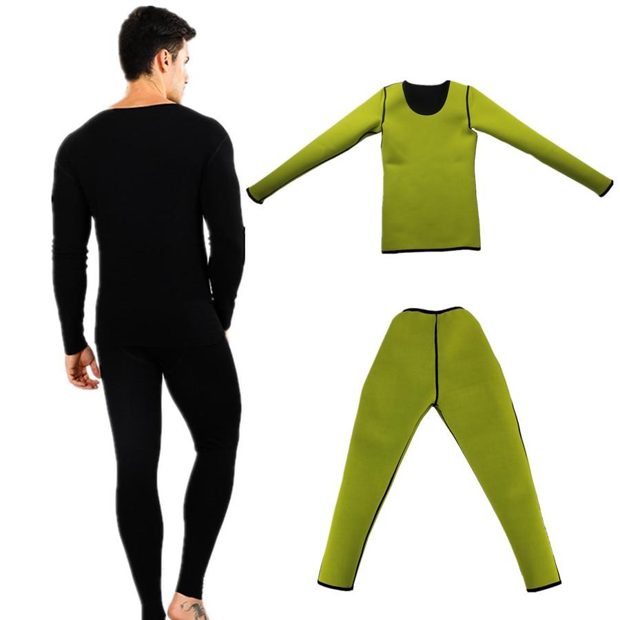 Shapers do corpo Calças de Manga Longa Homens Neoprene Suor Sauna Perda de Peso Cintura Instrutor Workout Slimming Shapewear Trecho de Fitness