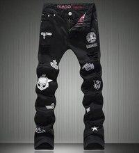 New  Skull Appliques Men Black Jeans Fashion Slim Pencil Pants