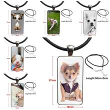 For Men Women Gift Fashion Necklace Handmade Rectangle Shape Choker Necklace Jewelry Multi Designs My Better Half Is A Chihuahua(China)