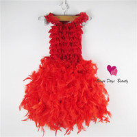 New 2014 Innovative Baby Girl Feather Dress Wedding Dress Evening Party Dress For Girls Free Shipping