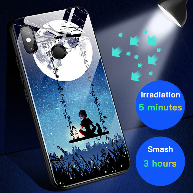 Image 4 - Moonlight Girl Luminous Glass Phone Case For Xiaomi Mi 8 9 SE Lite Redmi Note 4X 5 6 7 8 Pro Plus Luxury Starry Sky Cover Coque