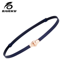BAIEKU Fashion Stretch Women Thin Belt Dresses A Small Belt The First Layer Of Real Leather