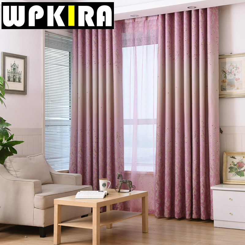 Korean lavender pink blackout printed curtain cloth for living room tulle blue curtain panel for Lavender curtains for living room