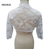SHAMAI Three Quarters Sleeve Lace Wedding Jacket White Bridal Coat Ivory Wedding Wraps Bolero