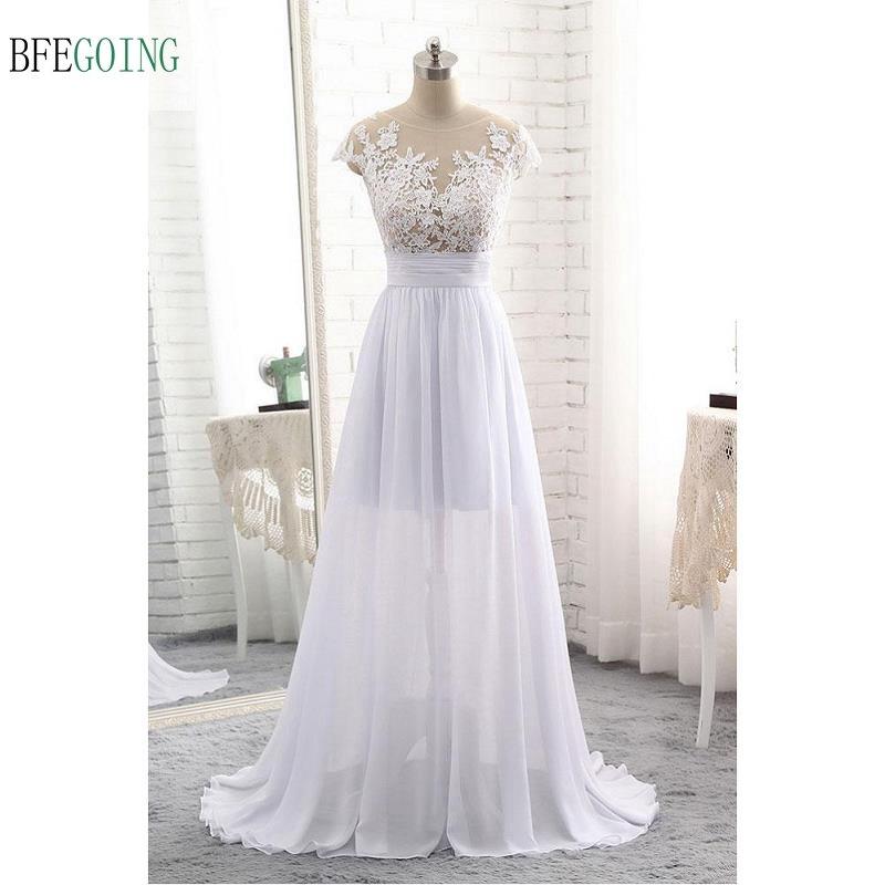 Sexy Lace Appliques Chiffon and Satin Floor length A line Wedding dress Sweep Train Cap Sleeves Custom made