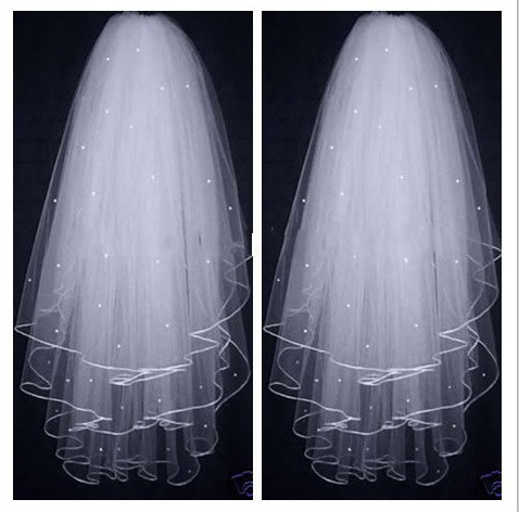 High Quality Bridal Illusion White Ivory 3T Ribbon Edges With Pearls Bridal Wedding Veils  Bridal Accessories Wedding Vail