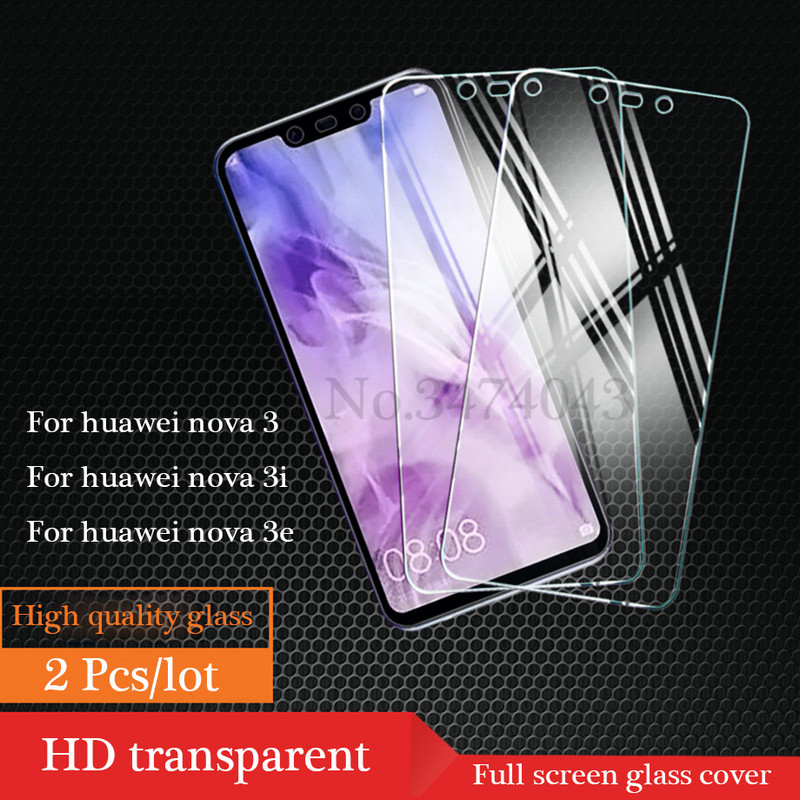 2Pcs Full Tempered Glass For Huawei Nova 4 3 3i 3E Full Cover Screen Protective Protector Film For Huawei Nova 4 3 3i 3E Glass