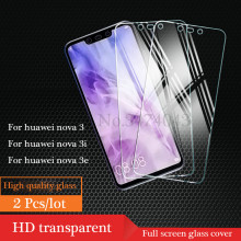 2Pcs Full Tempered Glass For Huawei nova 4 3 3i 3E Cover Screen Protective Protector Film