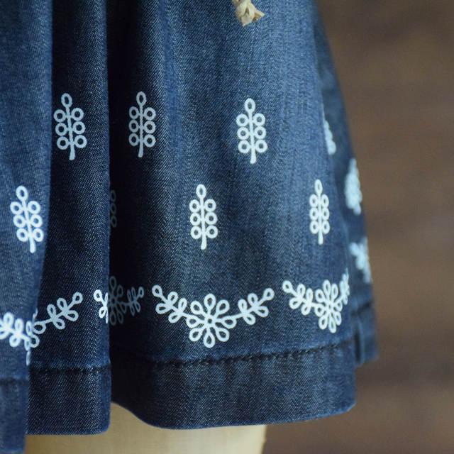 b688c2e3b0 Faldas de mezclilla azul para niñas y niños faldas de algodón de bebé  Floral cintura elástica