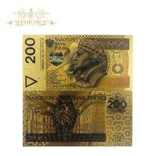 10 sztuk/partia 200 Bill PLN polska złoty banknot papież złoty banknot do kolekcji 999 złota. Polimer darmowe plastikowe z długim rękawem