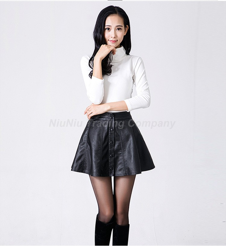 Woman In Black Leather Mini Skirts - Dress Ala