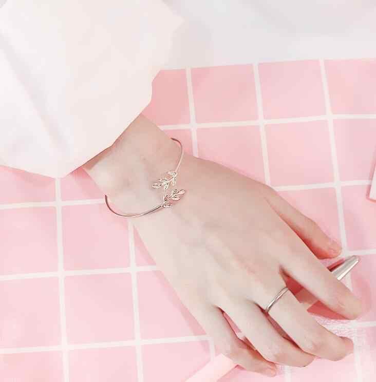 צמיד אישה ילדה גברים תכשיטים פעימות לב צמח עלים שחור זהב כסף מתנה חוף קיץ מסיבת צמיד לוח שרשרת