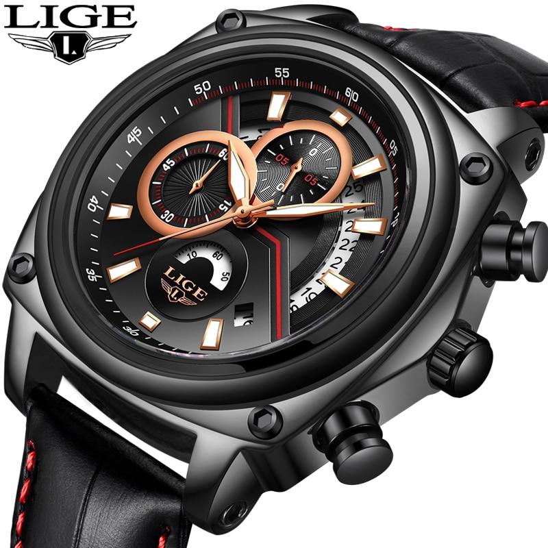 Relogio Masculino 2018 Men Watch LIGE Men's Watches Top Brand Luxury Quartz Wristwatch Men Casual Leather Waterproof Sport Clock цена