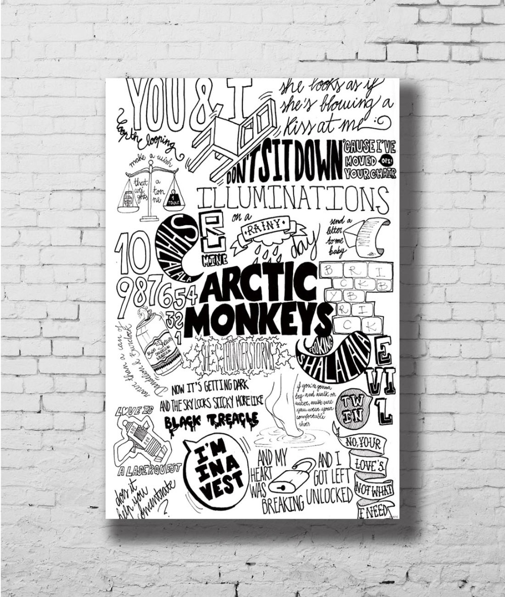 US $4.89 |Quotes Custom Arctic Monkeys Rock Wall Sticker Home Decoration  Silk Art Poster-in Painting & Calligraphy from Home & Garden on AliExpress