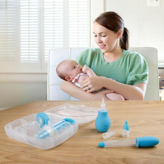 4pcs/set Baby Grooming Healthcare Kits Infant medicine feeder Ear Syringe Nasal Aspirator set for baby care Health R4