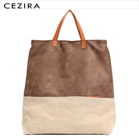 CEZIRA Large Causal Canvas Tote Bags for Women 2018 Vegan Leather Patchwork Contrast Color Female School Shoulder&Crossbody Bag