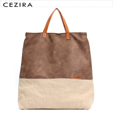 CEZIRA Large Causal Cotton Linen Vegan Tote Bags Notebook Computer Patchwork 13 Laptop Female School Carry Crossbody PU HandBag