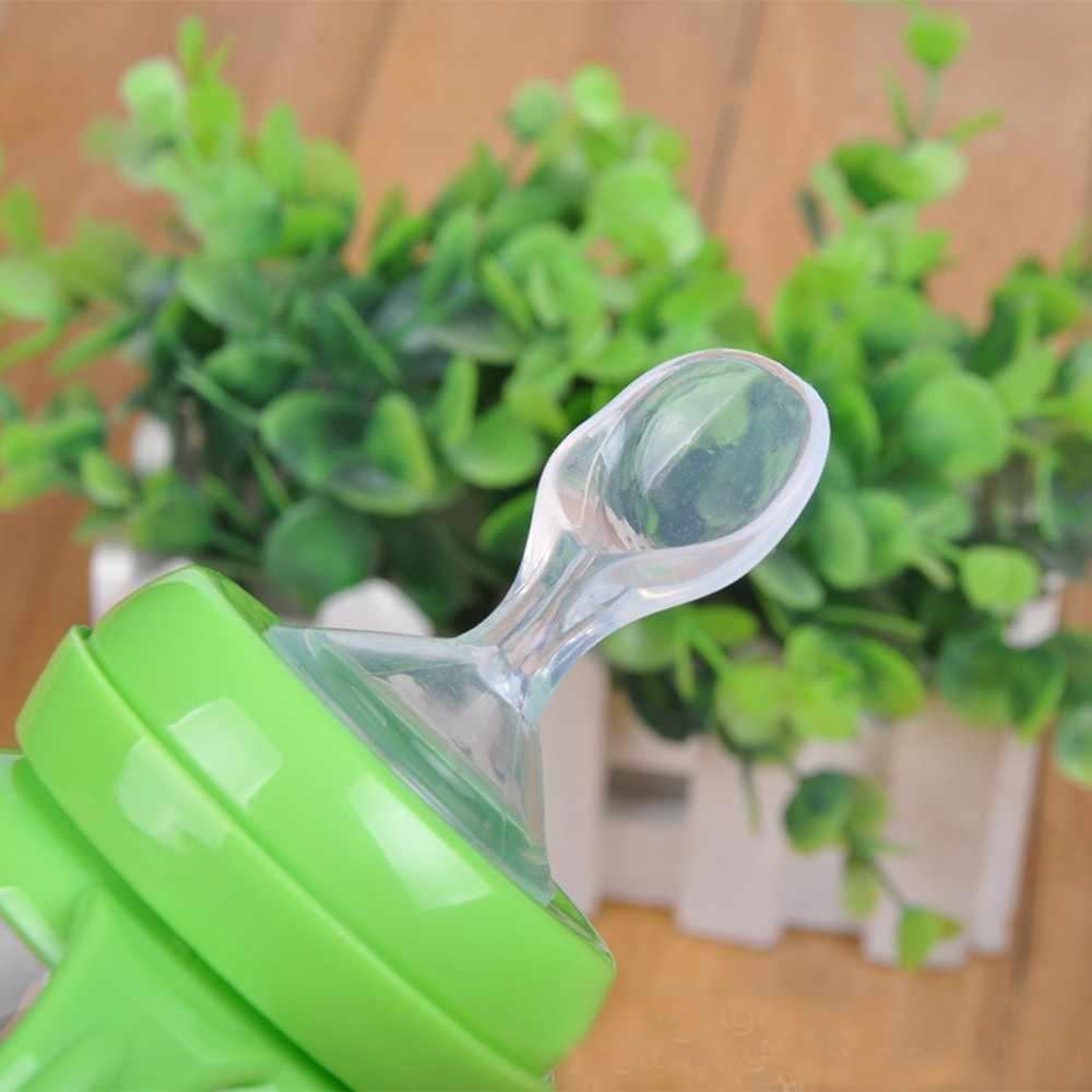 Высокое качество силиконовые Материал широкий рот бутылочка для кормления Соска с ложкой для риса Кормление паста Еда ложка Ниблер для кормления