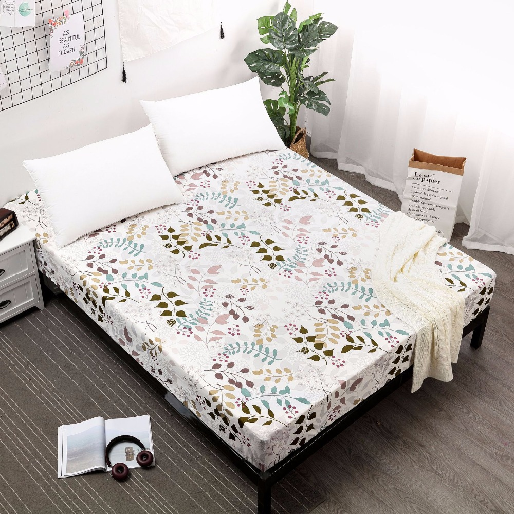 Double Bed Fitted Sheet Us 20 3 30 Off Waterproof Mattress Spring All Inclusive Bed Cover Separates Baby Urine Printed Flower Bed Cover Single Double Bed Fitted Sheet In