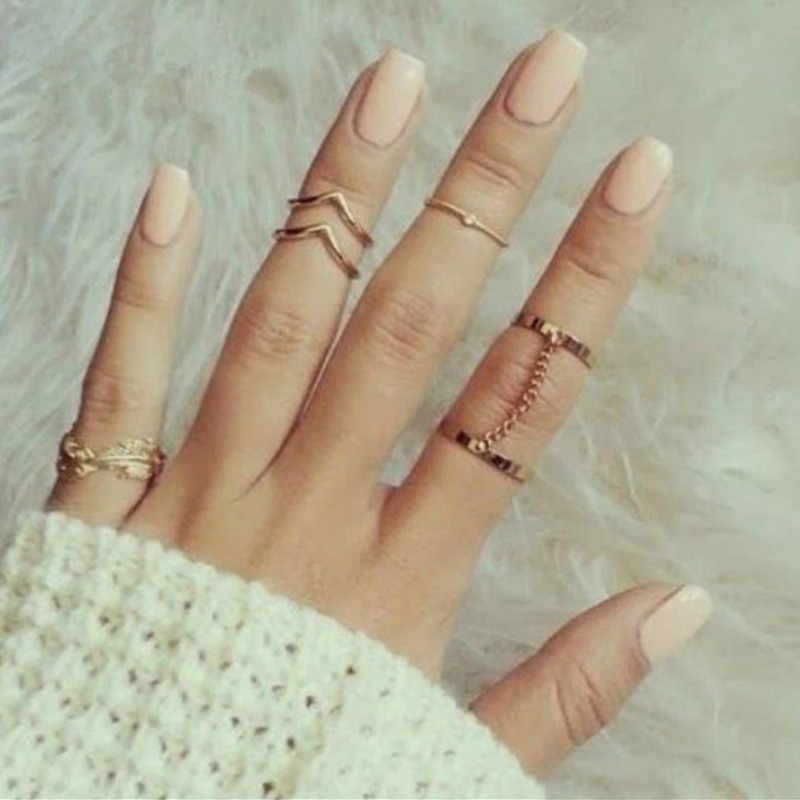 2018 novelty 6 pieces/many shiny punk style piles laid Mie Knuckle Ring Ring Charm Ring for Women Jewelry