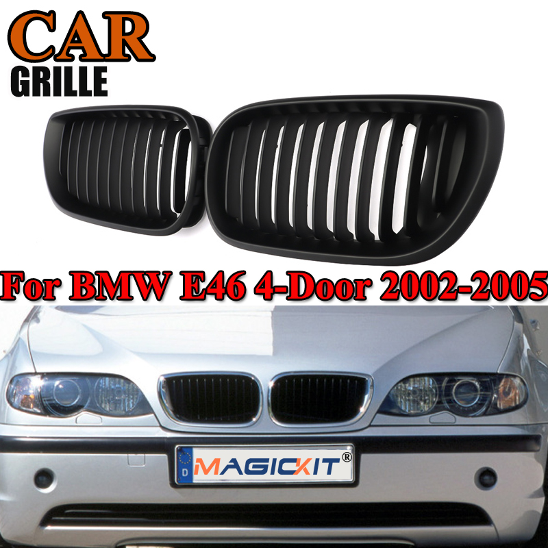 MagicKit Car Racing Grille for E46 Matte Black Kidney Sport Grilles Grill for BMW E46 Coupe 2 Door 2002 2005 Pre Facelift