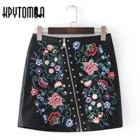 Vintage Rivets Oblique Zipper Floral Embroidery Faux Leather Skirt Women 2017 New Fashion Contrast Color Mini
