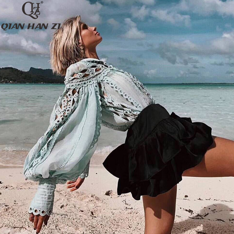 Qian Han Zi Fashion Designer Fall Womens Tops And Blouses Light Luxury Beaded Decorative Rhombic Embroidered Hollow Out Shirt