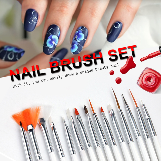 15pcs Nail Art Brush Dotting Painting Nails Pen Decorations Set Tools For False Drawing