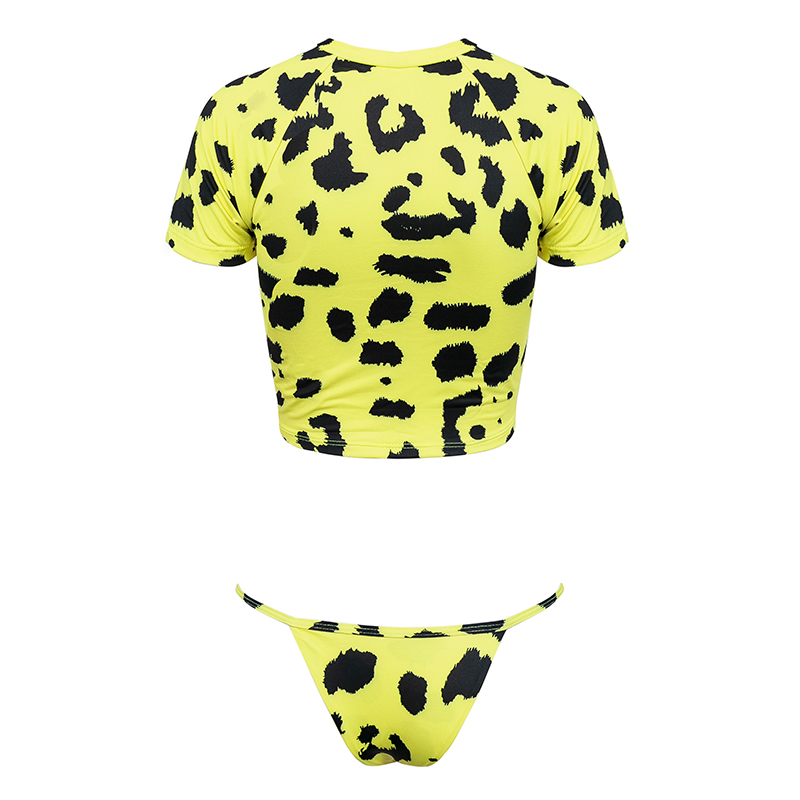 HTB1EdV2J7yWBuNjy0Fpq6yssXXaP Knot crop top bikini 2019 Leopard swimwear women bathers Yellow push up swimsuit female T-shirt thong bikini sexy bathing suit