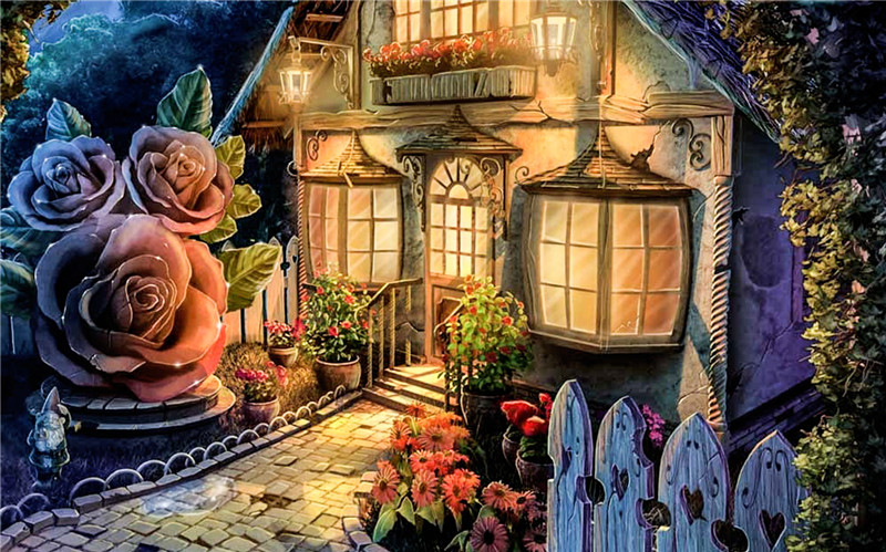 Free Widescreen Fall Wallpaper Diy 5d Diamond Painting Fairy House Cross Stitch Round