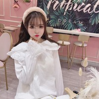 Princess sweet lolita blouse Japanese and Korean students girl flare Sleeve hollow lace double collar bottom shirt XH046