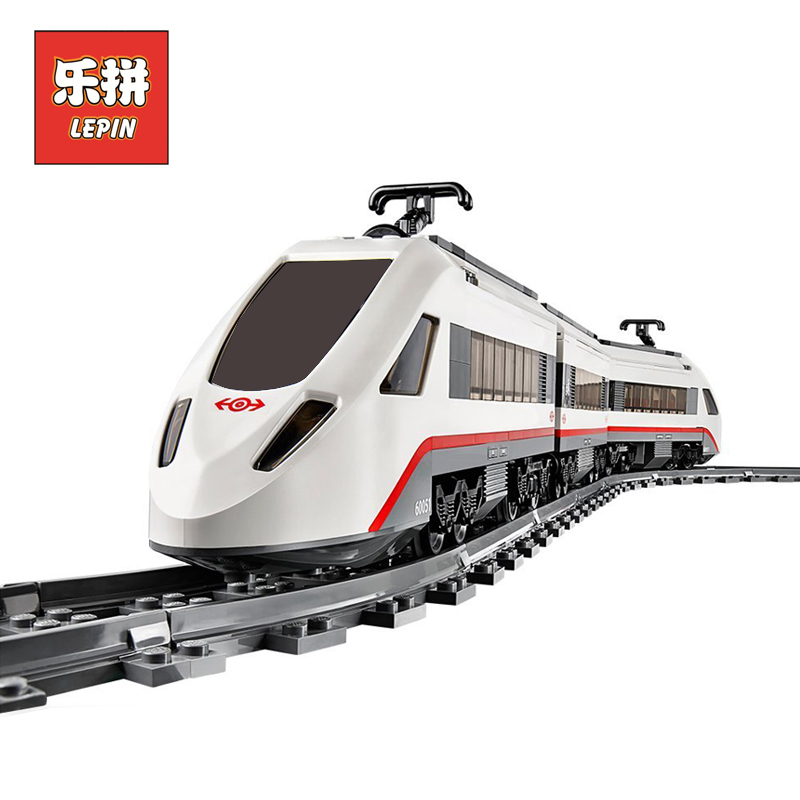 Lepin 02010 City Creator Series the High speed Passenger Train Remote control RC Rail Train Set Building Blocks Bricks 60051 lepin 02009 city engineering remote control rc train model