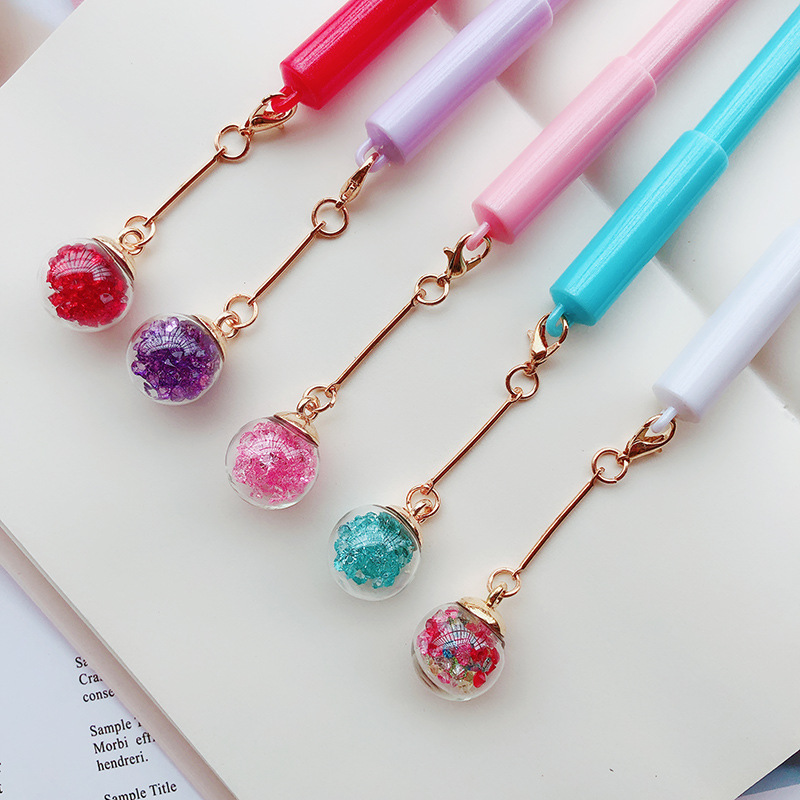 5 Pcs/Lot Crystal Pendant Gel Pen Star Diamond Wish Ball Black Color Ink Pen Gift Stationery Office School A6546