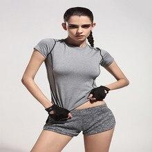 Women short Shirt for font b Fitness b font Running Sports T shirt Short sleeved Quick