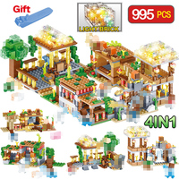 3D light Bricks Toys Compatible LegoINGLY Minecraft village Castle Figures DIY Building Blocks Enlighten Toy For children