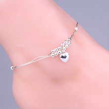 One Piece Ladies Silver Plated Hollow Out Double Cuff Heart-Shaped Anklet paramulher joyeria Fashion Jewelry