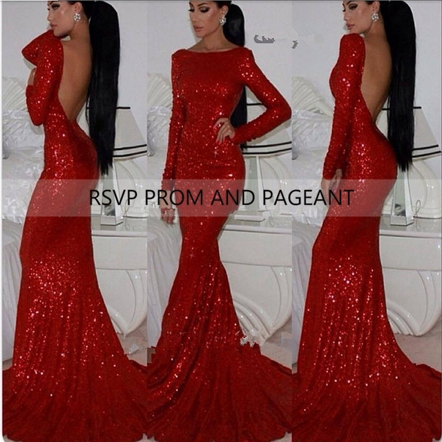Sexy Long Sleeve Open Back Mermaid Long Red Evening Dress Sequin
