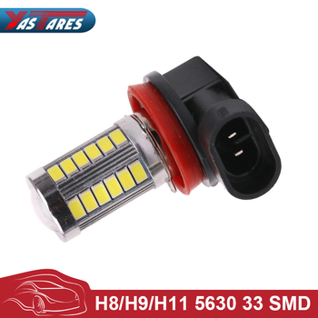 цена на 1pc H11 led High Power 5630 33LED Pure White Fog Head Tail Driving Car Light Bulb Lamp 12V H11 33SMD Fog Lamp Car Light Source
