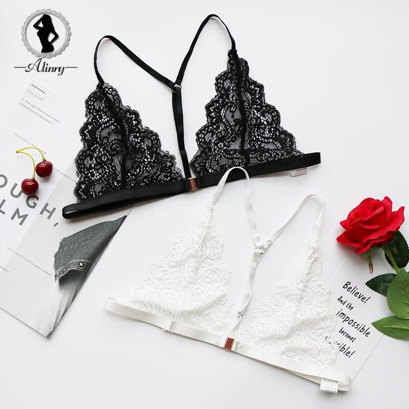 Buy ALINRY Sexy Bra Wire Free Women Lace Lingerie Bralette Seamless Thin Push Underwear Brassiere Bras Halter Bustier Crop Top