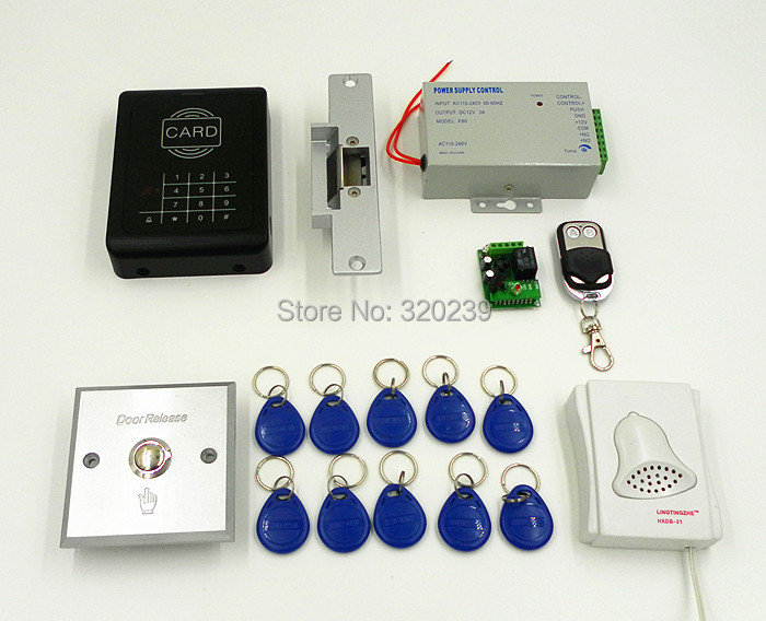 RFID 125KHz Keypad Access Control Security System Kit + Electric Strike Door Lock + ID Cards Key Fobs & Fob Door Access u0026 In Order To Fob Access