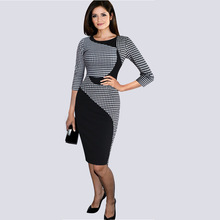 Vestidos Womens Elegant Colorblock Patchwork Tartan Check Plaid Dress Wear to Work Business OL Party Bodycon Stretch Dress 32