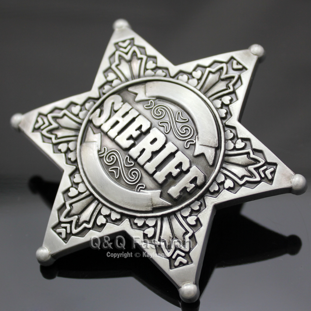New  Belt Buckle Vintage Silver Western Texas Sheriff Ranger Cop Star Badge Rodeo Mens Gift Fashion