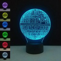 3D Star Wars Death Star Night Light USB LED Touch Switch Table Lamp Bedroom DIY Decor