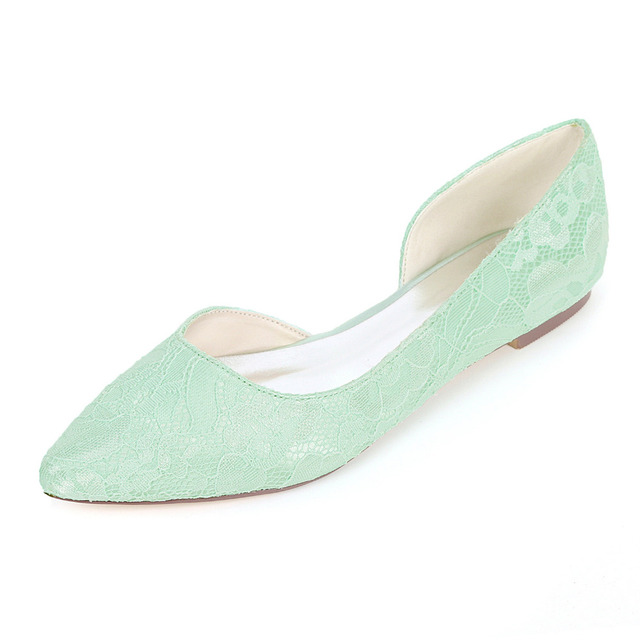 Creativesugar D orsay side empty flats pointed toe lace women s flat shoes  bridal wedding party prom fresh color prom mint green 761ec173e437