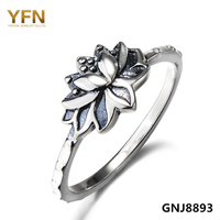 GNJ8893 100 Pure 925 Sterling Silver Ring Religious Jewelry Antique Silver Lotus Flower Ring Fashion Jewelry