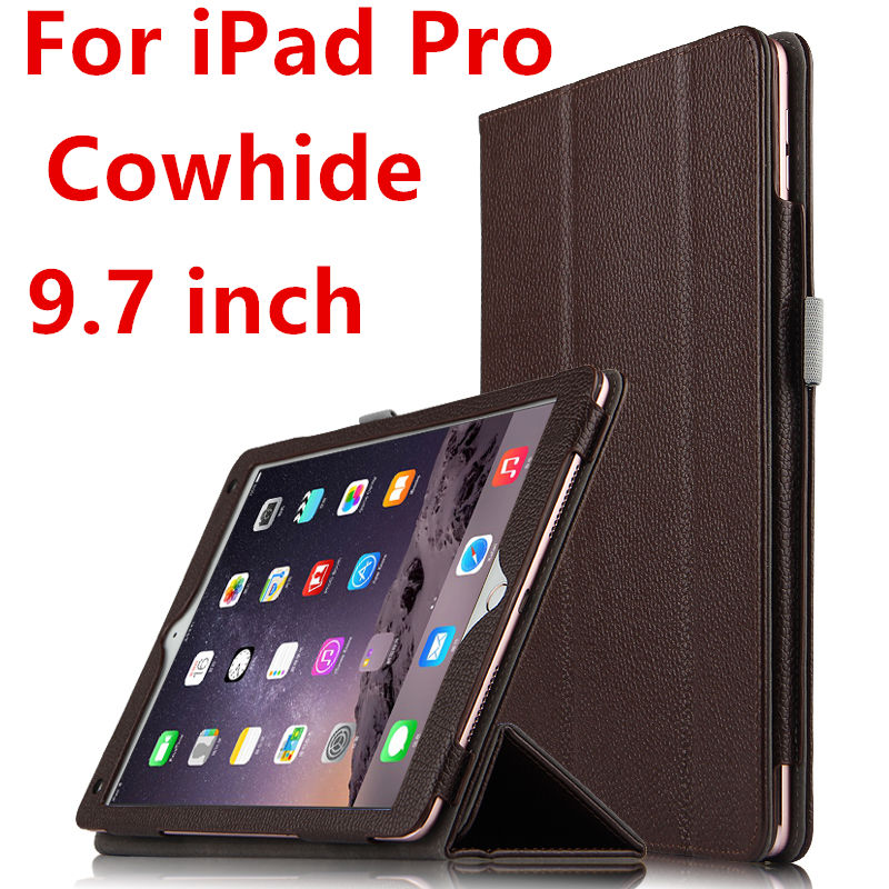 Case Cowhide For iPad Pro 9.7 inch Protective Smart cover Genuine Leather Tablet For Apple iPad Pro Protector 9 7 Sleeve Covers surehin nice smart leather case for apple ipad pro 12 9 cover case sleeve fit 1 2g 2015 2017 year thin magnetic transparent back