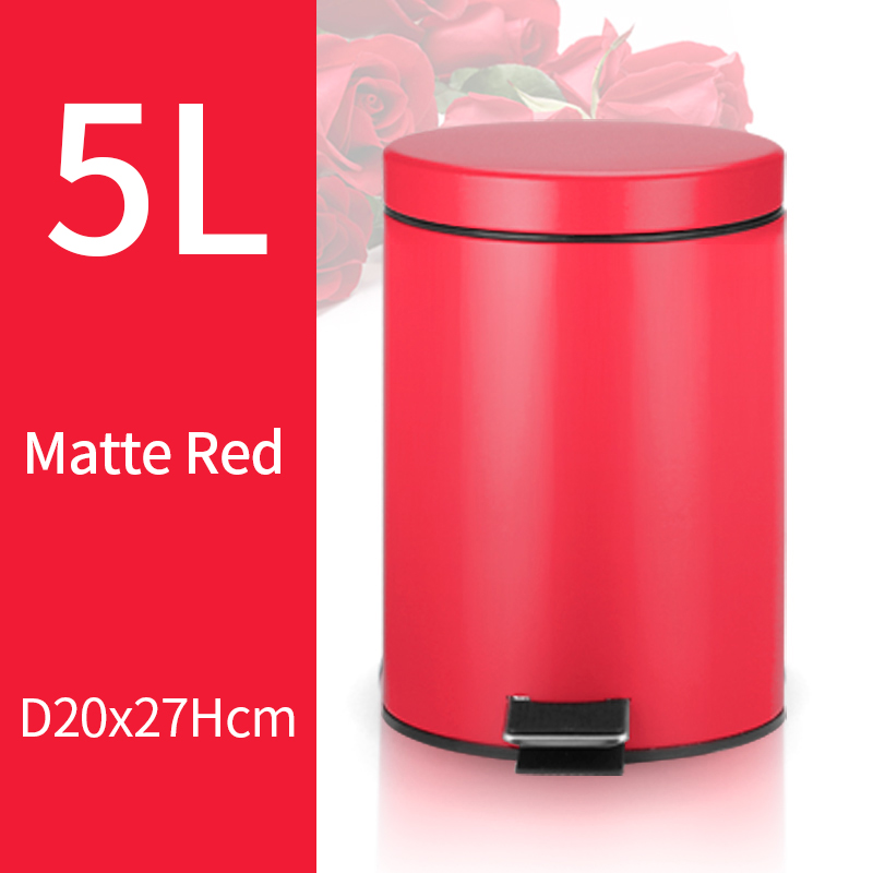 5L Trash Can Kitchen Living Room Office Garbage Dust Bin Bathroom Storage Rubbish Bucket Storage Box Pedal Waste Can Red Color