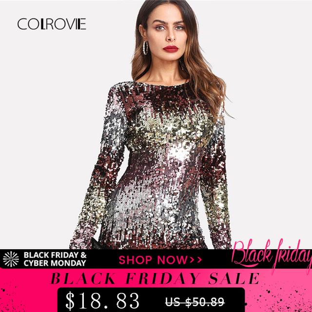 Iridescent Sequin Dress 2018 Round Neck Long Sleeve Sexy Party Dress With  Zipper Women Sheath Autumn Short Dress d38e8dad4
