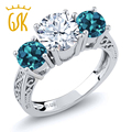 GemStoneKing 2.40 Ct Round Natural White and London Blue Topaz3-Stone Ring Solid 925 Sterling Silver Ring For Women