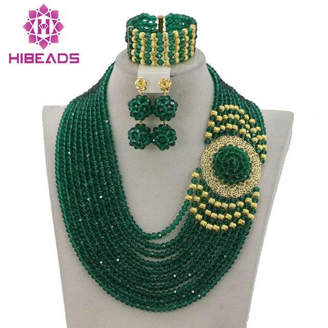 Splendid Nigeria Wedding Hạt Trang Sức Set Choker Necklace Set Phụ Nữ Châu Phi Bridal Jewelry Set Mới Miễn Phí Tàu GS217